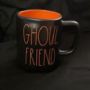Rae Dunn Ghoul Friend Black Mug Orange Writing